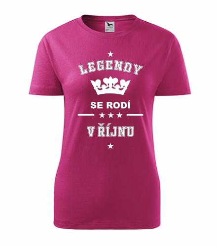 Dámské tričko Legendy se rodí v říjnu - Dárek pro ženu k 65