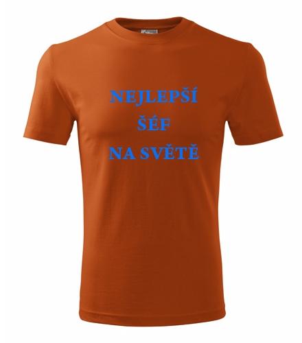 Dárek pro muže k 50 Tričko nejlepší šéf na světě oranžová
