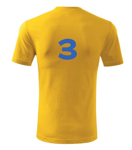 Tričko s číslem 3 - Dárek pro fotbalistu