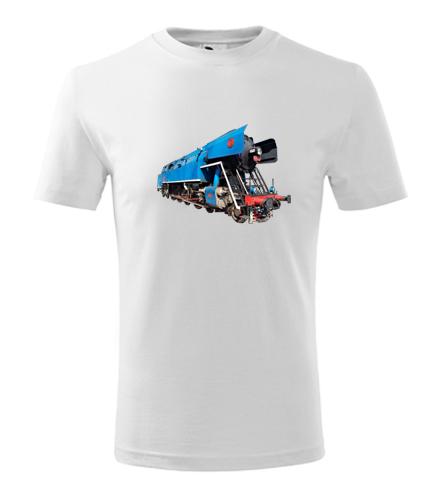 Dětské tričko s parní lokomotivou papoušek - Dětská trička s mašinkou