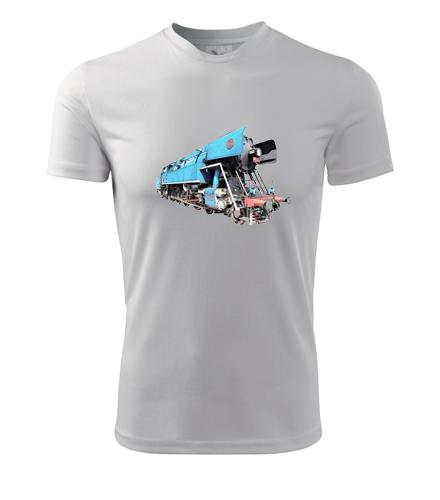 Tričko s kresbou parní lokomotivy papoušek - Dárek pro příznivce železnice