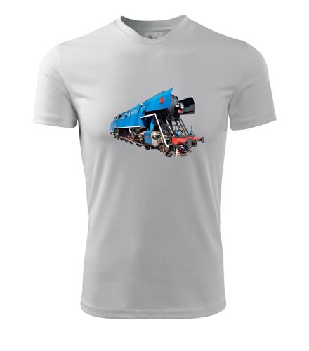 Tričko s parní lokomotivou papoušek - Dárek pro železničáře