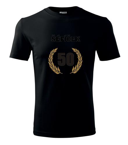 dárky pro muže k narozeninám Tričko šéfíček 50 - vavřínový věnec černá