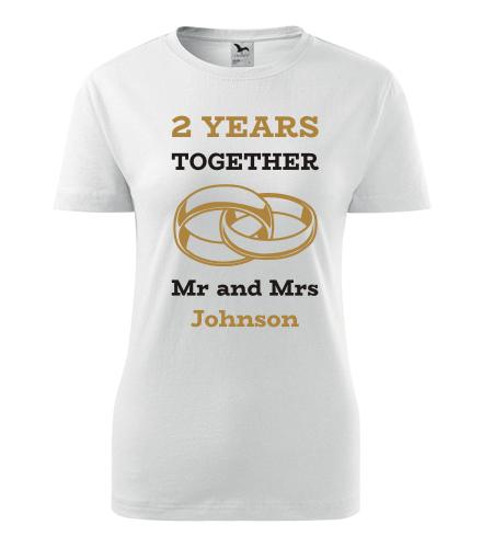 Dámské tričko k výročí svatby - Mr and Mrs - zlaté prstýnky - Dárek k výročí svatby