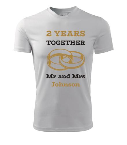 Tričko k výročí svatby - Mr and Mrs - zlaté prstýnky - Dárek k výročí svatby