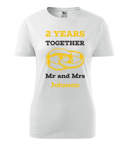 Dámské tričko k výročí svatby - Mr and Mrs - žluté prstýnky - Dárek k výročí svatby