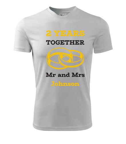 Tričko k výročí svatby - Mr and Mrs - žluté prstýnky - Dárek k výročí svatby